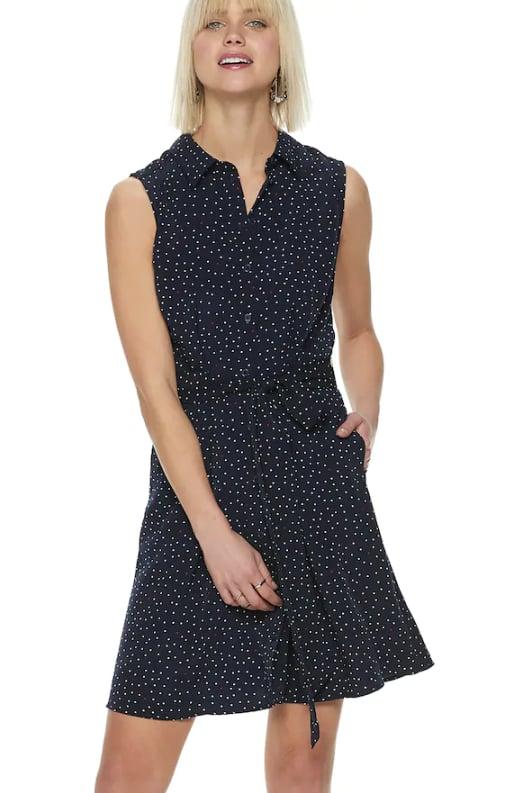 Chiffon Shirt Dress in Highlighted Dots