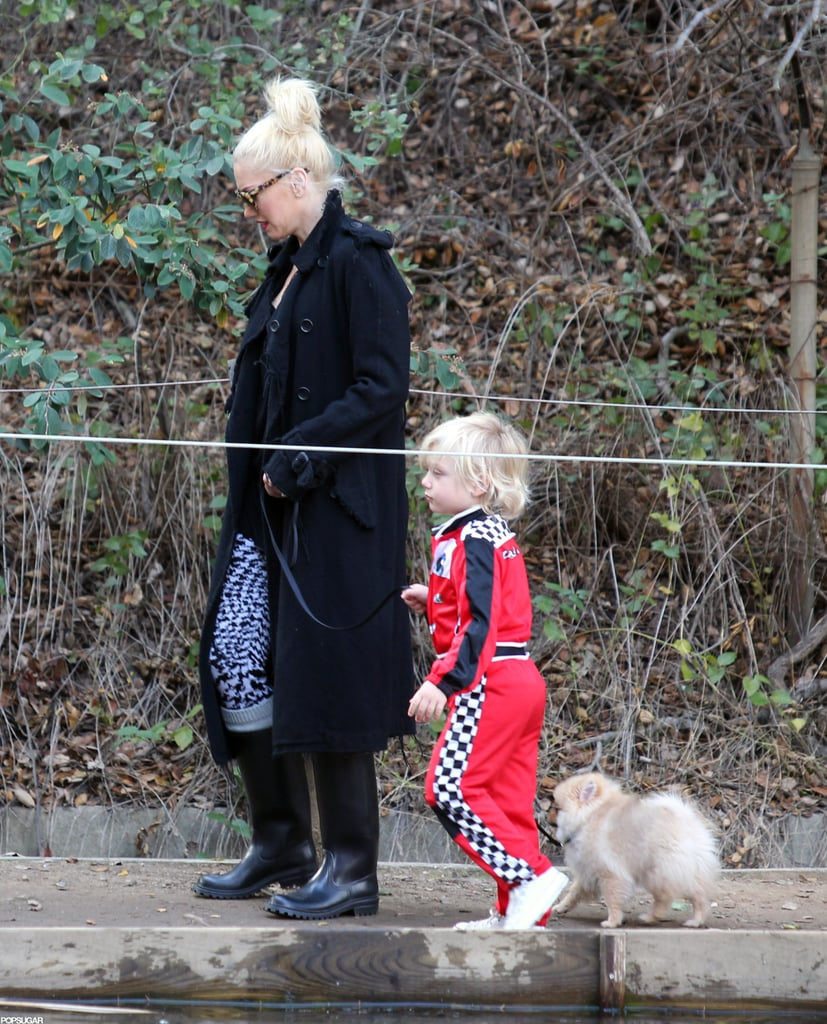 Gwen Stefani had the company of her son Zuma Rossdale to take their Pomeranian puppy for a walk at an LA park yesterday afternoon. Gwen has been busy after having time off around Thanksgiving. On Tuesday, Gwen and Gavin Rossdale ran errands around LA. The couple enjoyed downtime together after she performed with her band, No Doubt, on Saturday. Gwen hit the stage with No Doubt in the first of six scheduled performances in LA. Gwen is now gearing up for their next show at the Gibson Amphitheatre tomorrow night.