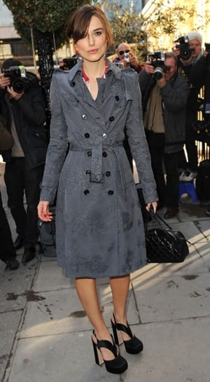 Keira Knightley in a Gray Burberry Trench at the 2010 Laurence Olivier Awards