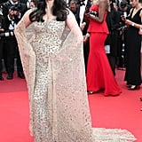 Aishwarya Rai posed with her sheer cape at the premiere of Slack Bay (Ma Loute).