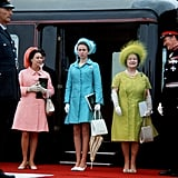 Princess Margaret, Princess Anne, and the Queen Mother attended the investiture of Prince Charles on July 1, 1969.