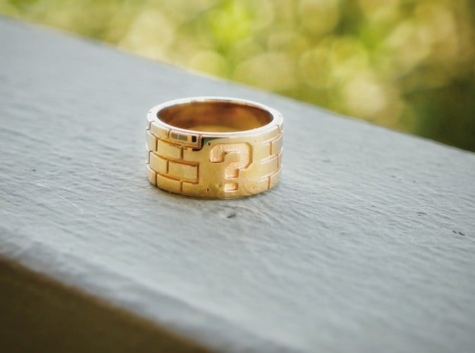 Super Mario Gold-Plated Mystery Brick Ring