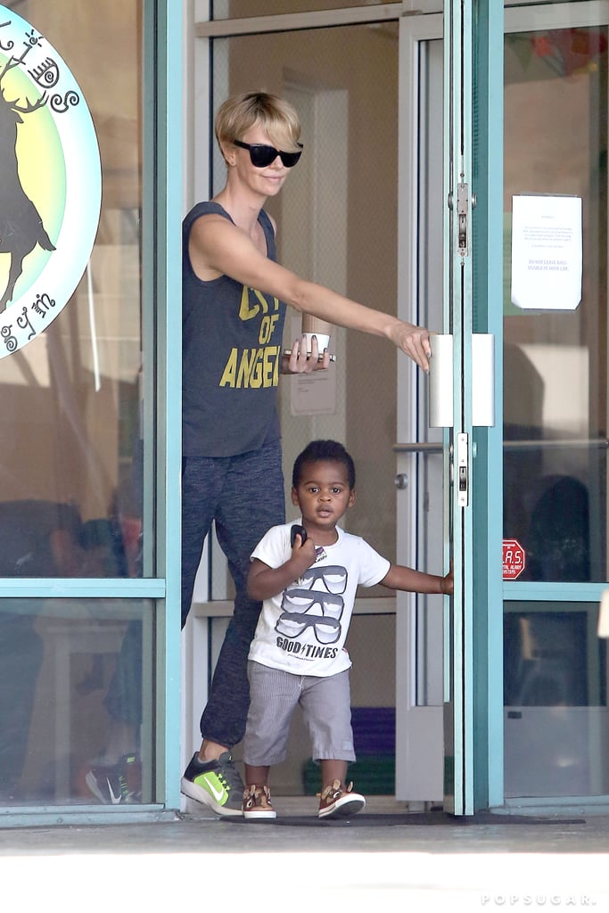 Charlize Theron and her son, Jackson, spent the afternoon at a gym in LA.
