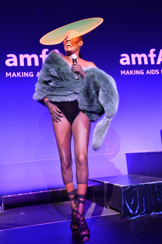 Grace Jones performing at amfAR's New York Gala.