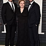 It was a family affair for Chris Evans who brought his brother, Scott, and older sister Carly to Vanity Fair's Oscars party.