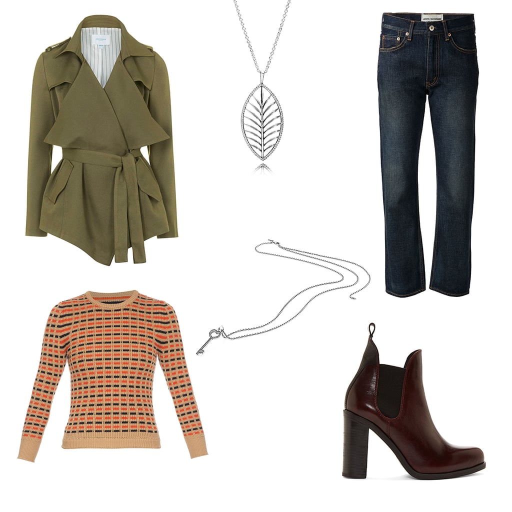 Jeans, $278, Farfetch; knit, $600, Maison Margiela at Matches Fashion; jacket, $141, Topshop; boot, $310, Rag & Bone at Ssense; Sterling Silver and Cubic Zirconia Tropical Palm Necklace, $149, PANDORA; Sterling Silver and Cubic Zirconia Key Necklace, $129, PANDORA