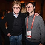 Joseph Gordon-Levitt posed for photos with Robert Redford at a dinner event on Friday at Sundance.