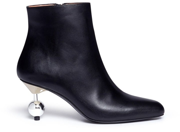 Marni Orb Pin Heel Leather Ankle Boots