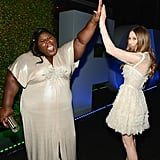 Gabourey Sidibe and Taissa Farmiga high-fived.
