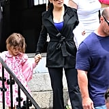 Salma Hayek held daughter Valentina's hand on the set of Grown Ups 2 in Massachusetts.