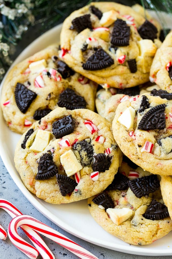Peppermint Cookies With Oreos and White Chocolate