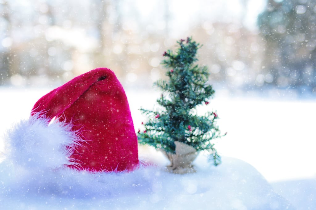 Keep your head warm and toasty by throwing on a Santa hat.