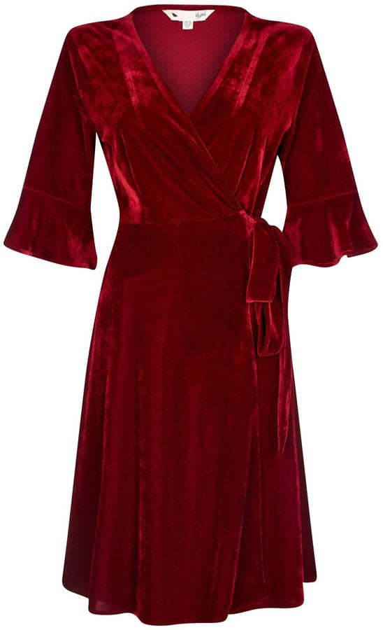 Yumi Velvet Fluted Wrap Dress