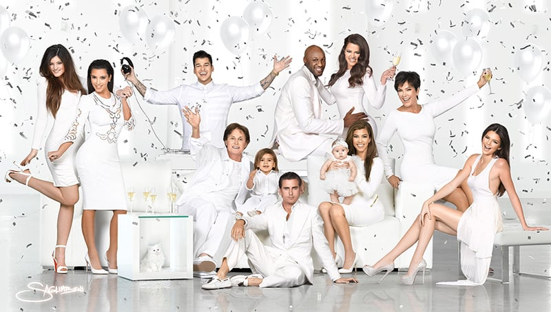 The whole Kardashian-Jenner family, including Kim's late cat Mercy, got together for their annual Christmas card.  Source: Photo courtesy Nick Saglimbeni