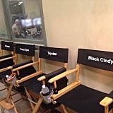 How cute are the characters' chairs lined up?