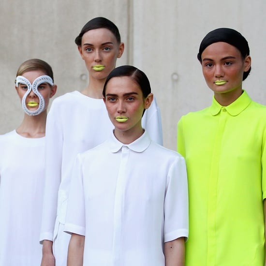 """To tie in with Magdalena Velevska's aquatic-themed collection, Kate Squires (Napoleon Perdis) created """"futuristic mermaids"""" through makeup. The star, and certainly the most eye-catching detail of the look was the opaque neon yellow lip, which, if you're not brave enough to emulate, Squires suggests toning down with a yellow gold shadow: """"apply a bit in the centre over a nude lip,"""" she recommends. The skin was bronzed with a subtle rosiness on the cheeks. """"It's that holiday skin that's just on the verge on being burnt."""" Light Patrol Luminzer Palettes in Bronze and Gold played a key role and clear mascara finished the look to give that wet-lash feel. Renya Xydis (Wella Professionals) created a highly-stylised wet-look hairstyle that was twisted off of the face. """"There's no technique as such,"""" she said of the style because twists were chosen over plaits. To get hair wet """"but still malleable"""" Xydis used Sebastian Volupt Spray after prepping with Wella Professionals SP Hydrate Finish and finishing with lots of Wella Professionals SP Perfect Hold. Nails were done by Miss Frou Frou. A base shade of Flesh was used with four different polishes being used as tip colours: Mint, Ashfelt Junge, Sorbet and Zest."""
