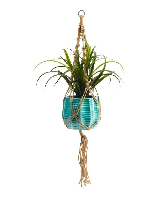 Faux Grass in Hanging Textured Pot