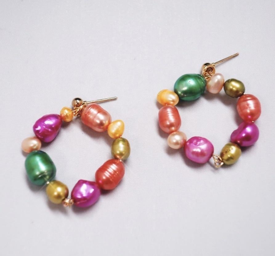 Choked by a Thread Candy Pearl Knot Hoops