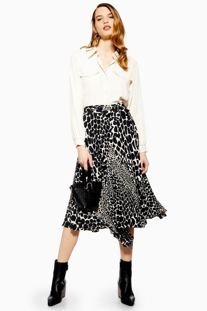 Topshop Giraffe Spot Pleated Midi Skirt
