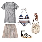 Play up Summer's more bohemian mood with a slouchier fit and a mix of fun prints. Don a geo-patterned bikini under a basic gray t-shirt and flowy, floral-printed skirt for an easy poolside look. Plus, you can shimmy out of your clothes and into the pool in under a minute. To keep the free-spirited vibe consistent, finish the ensemble with equally offbeat accents, like a beaded sandal and crochet bucket bag. Get the Look:   Madewell Treehouse Tee in Boulder Gray ($25)  Girl. by Band of Outsiders Printed Silk-Blend Chiffon Mini Skirt ($345)  Quiksilver Island Geo Iconic String Bikini Top ($39)  Quiksilver Island Geo It's a Cinch Bottoms ($39)  Tory Burch Claire Bucket Bag ($350)  Zara Ethnic Sandal ($70)
