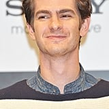 Andrew Garfield smiled at the press conference for The Amazing Spider-Man in Japan.