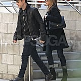 Jennifer Aniston and Justin Theroux bundled up for a movie date.