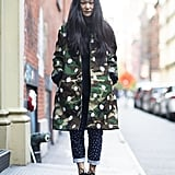 Layers don't mean covering up your style — a bold camo-print coat was the perfect way to show it off.  Source: Le 21ème   Adam Katz Sinding