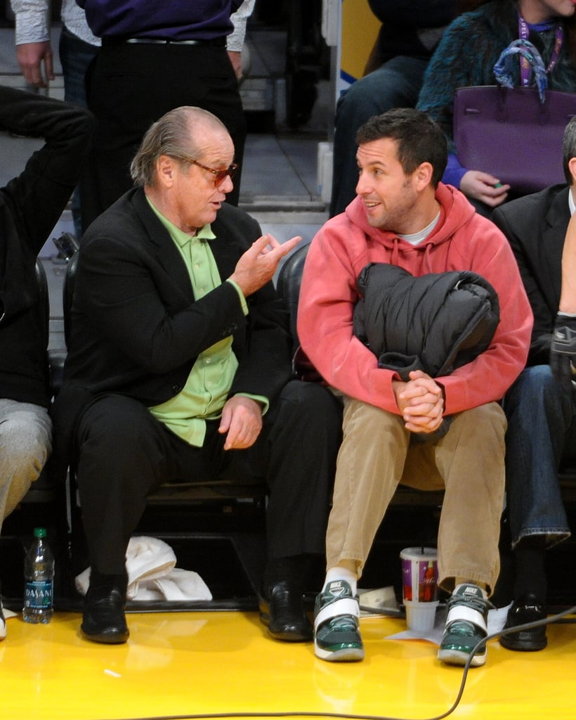Jack Nicholson and Adam Sandler seemed to have a serious conversation in the stands at a January 2013 Lakers game.