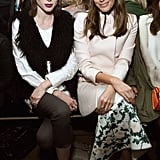 She also sat front row at Marissa Webb, decked out in a furry vest and chatting with media personality Louise Roe.