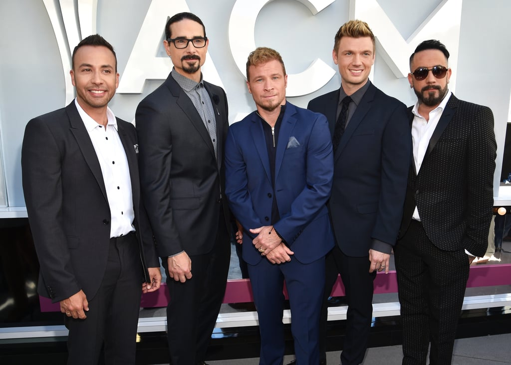 "The 52nd Annual Academy of Country Music Awards kicked off on Sunday night at Toshiba Plaza in Las Vegas, and the red carpet had no shortage of memorable moments of country music's best and brightest. There was also a nostalgic dose of pop, thanks to an appearance from the Backstreet Boys. Nick Carter, AJ McLean, Brian Littrell, Howie Dorough, and Kevin Richardson looked like they meant business while posing in front of photographers ahead of their performance of ""God, Your Mama, and Me"" with Florida Georgia Line later that night. Although they sure clean up nice, a part of us still misses their matching blue and yellow sweatsuits . . ."