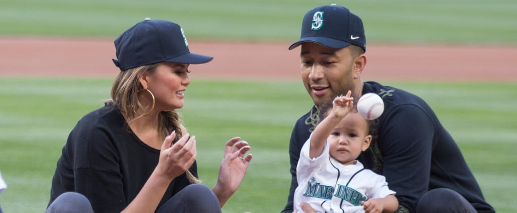 Chrissy Teigen and John Legend And Luna at Mariners Game