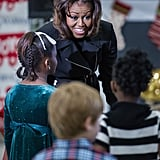 Michelle Obama chatted with the little ones during the Toys For Tots event.