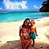 Alessandra Ambrosio scored some fun in the sun  with her little ones in St. Barts, France.
