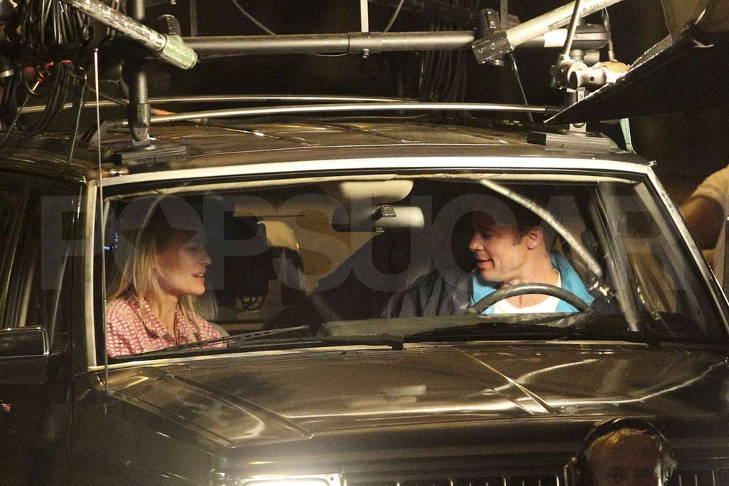 Pictures of Brad Pitt and Robin Wright Shooting Moneyball in LA