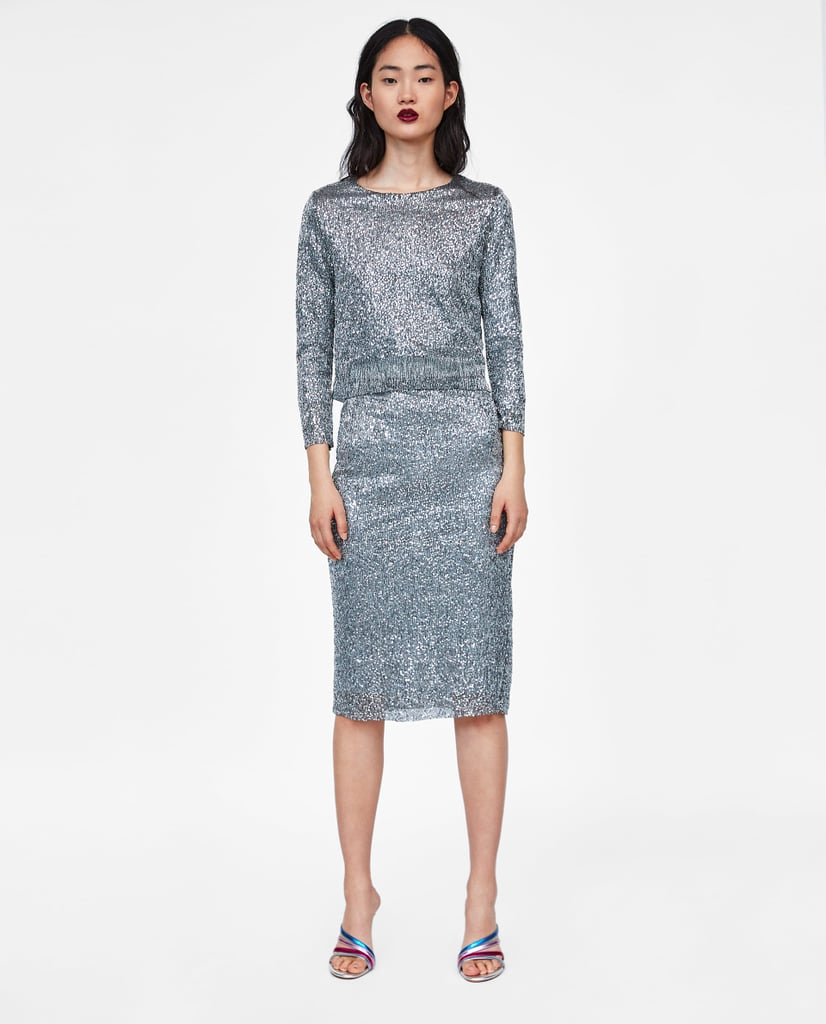 Zara Top and Skirt With Sequins