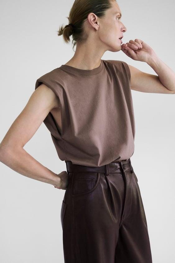 Zara T-Shirt With Shoulder Pads