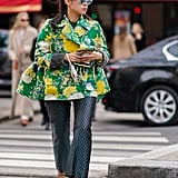 Wear a Floral Coat With Jacquard Pants
