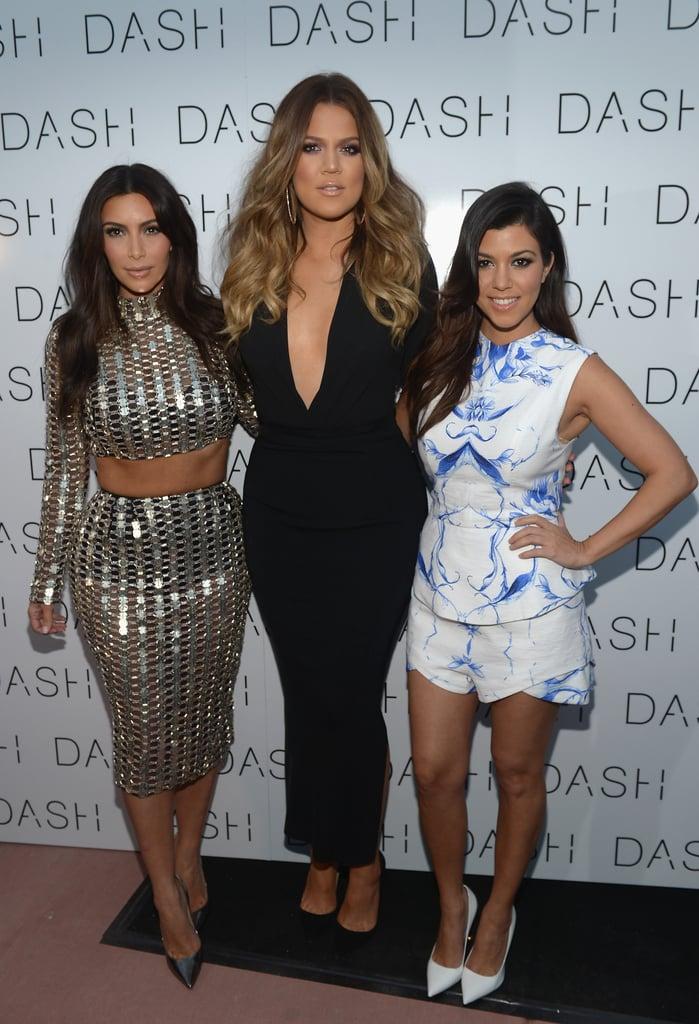 Kim, Khloé, and Kourtney Kardashian celebrated the opening of their latest Dash store in Miami.