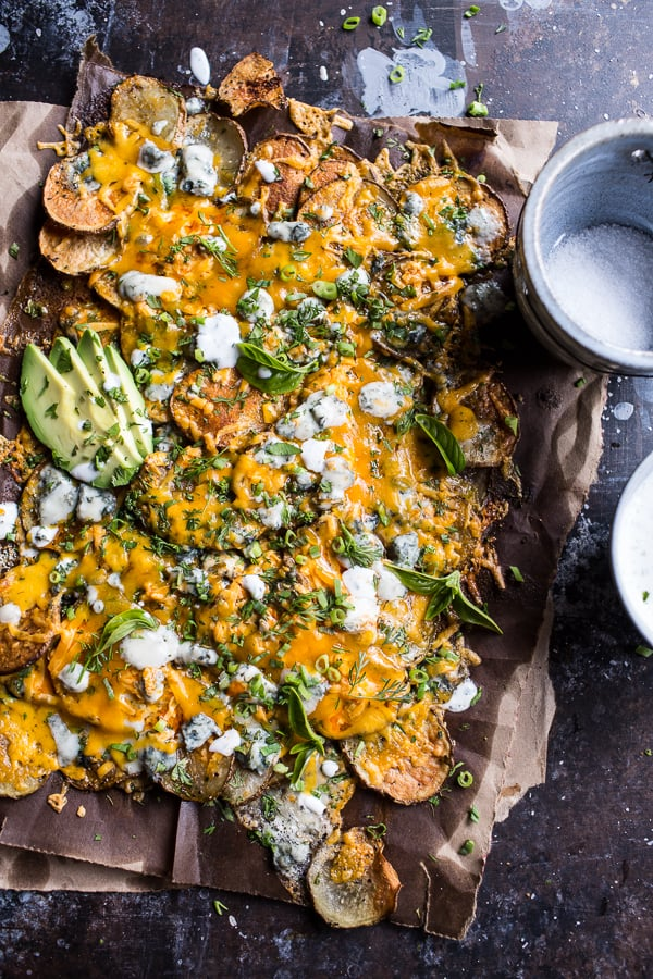 Buffalo Cheddar Potato Nachos
