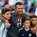 David and the boys watched the final World Cup match between Germany and Argentina in July 2014.