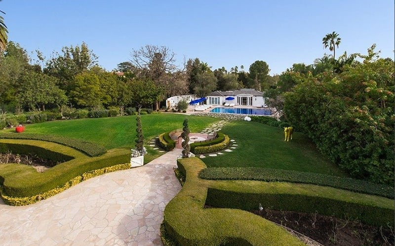 Five gardens are located on the grounds of the nearly three-acre property.