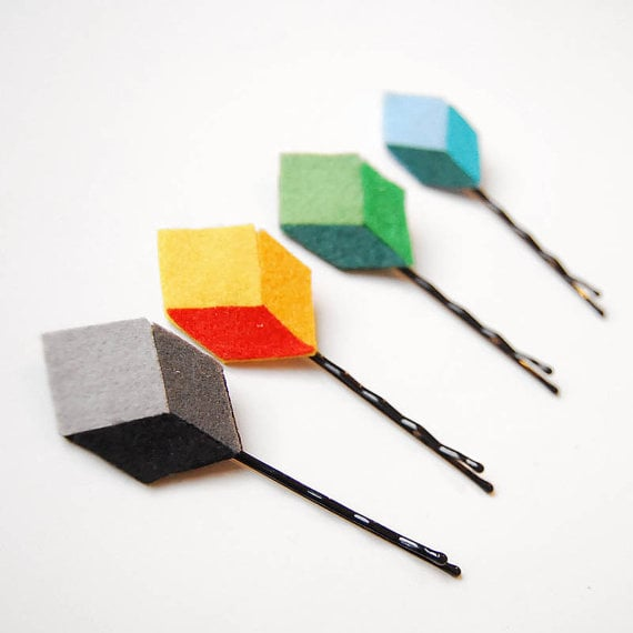 Pixels Bobby Pins (set of four, $15)