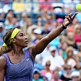 Her Game Was Fierce in This Leopard-Print Top at the 2014 Western and Southern Open
