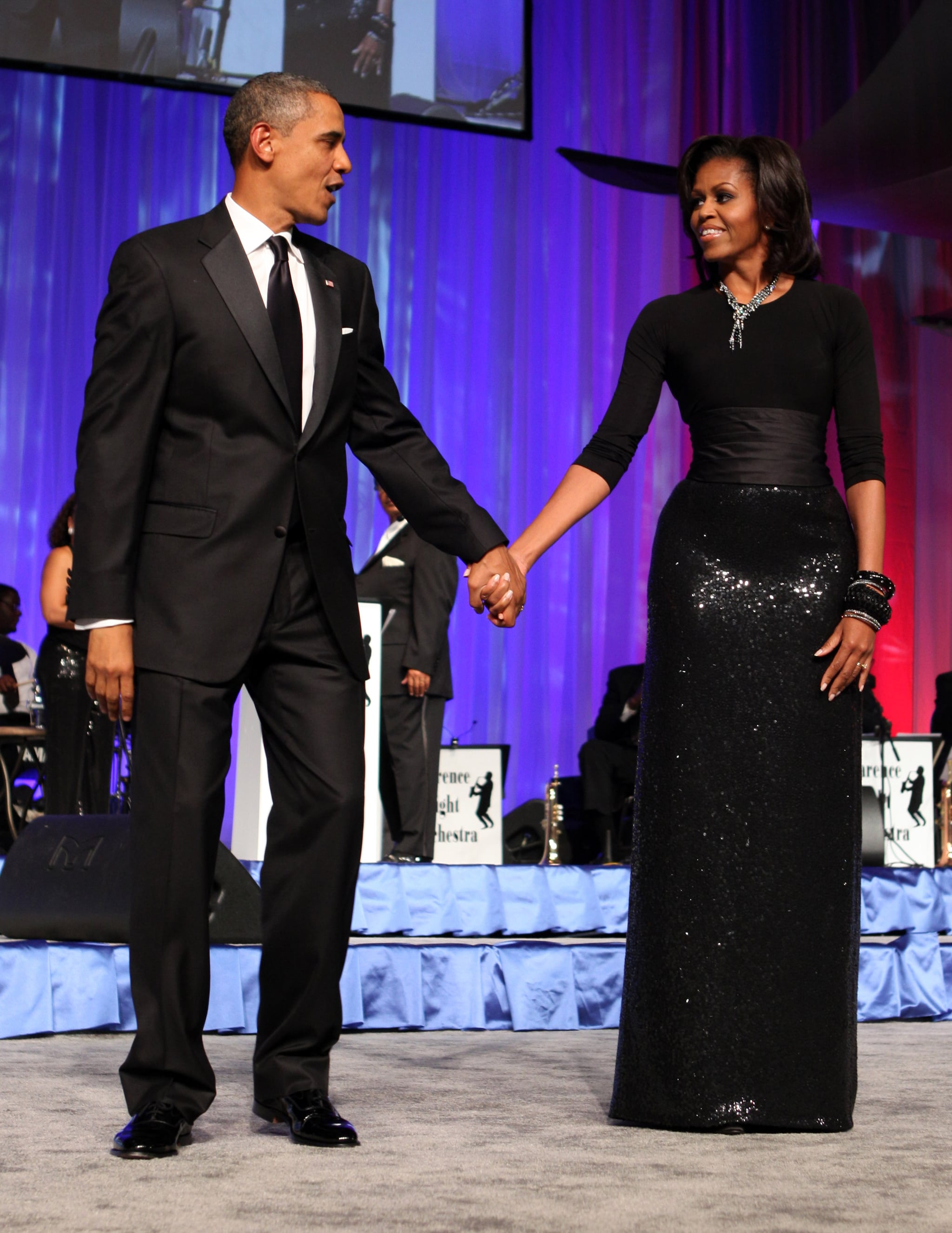 She wore a stunning black gown, complete with sparkly cummerbund, for an appearance at the annual Phoenix Awards in 2011.