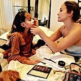 When she was on mama makeup duty.