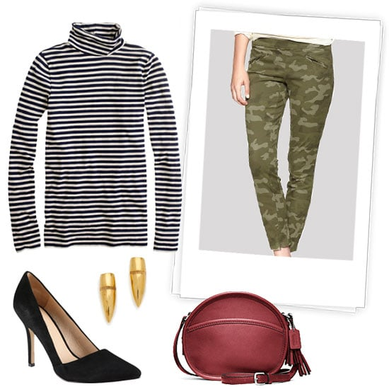 Try a preppier take on this season's beloved camouflage print. A striped turtleneck and a classic red shoulder bag add a more timeless effect. Get the Look:   J.Crew Tissue Turtleneck Tee ($45)  Gap Super Skinny Twill Pants ($60)  Coach Legacy Leather Canteen Bag ($158)  Tom Binns Hard Wear Small Bullet Studs ($99)  Aldo Romelia Pumps ($90)