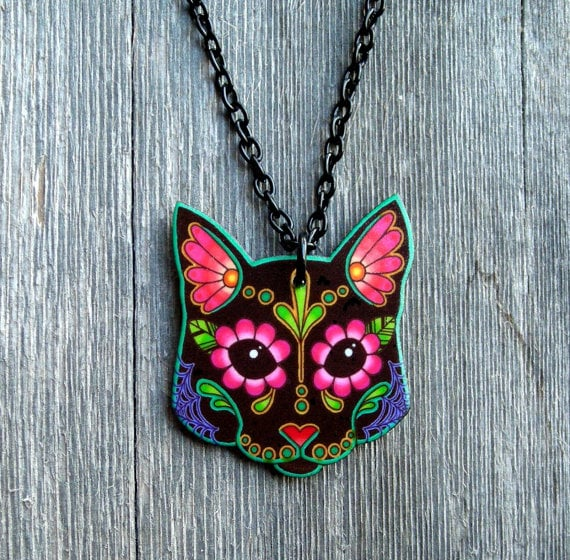 Sugar Skull Kitty Necklace