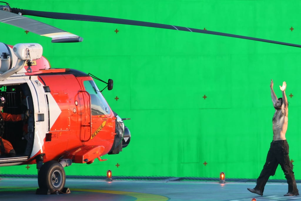 Henry Cavill walked toward a helicopter in Vancouver.