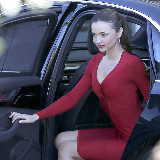 Miranda Kerr Wearing a Red Dress at Photo Shoot | Pictures