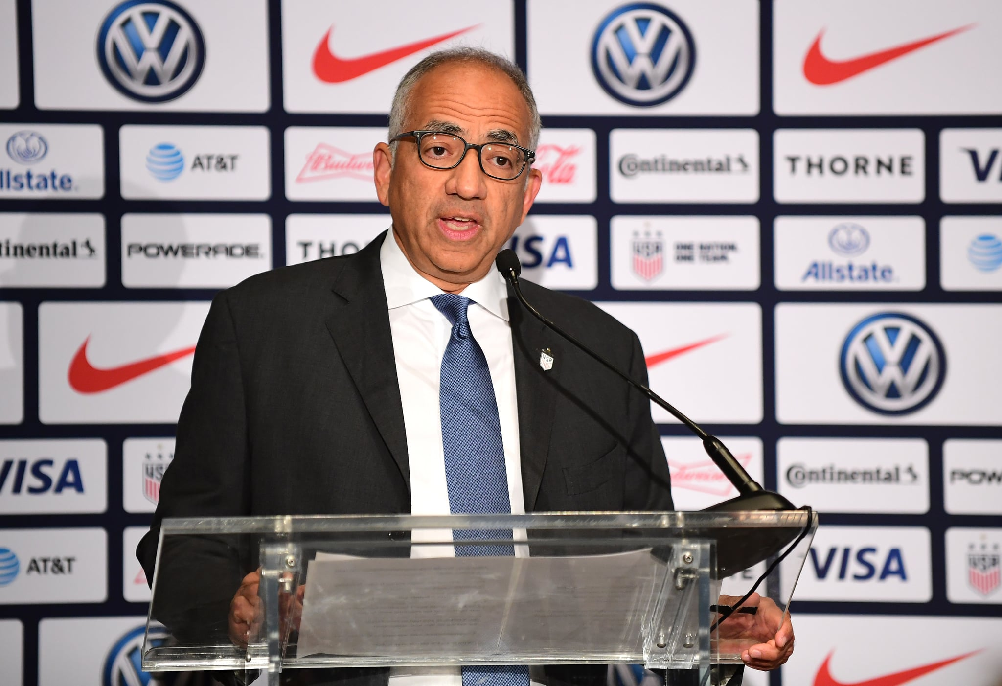 NEW YORK, NEW YORK - OCTOBER 28: Carlos Cordeiro, U.S. Soccer President,  speaks at a press conference where Vlatko Andonovski was introduced as the U.S. Women's National Team head coach, at Kimpton Hotel Eventi on October 28, 2019 in New York City. (Photo by Emilee Chinn/Getty Images)
